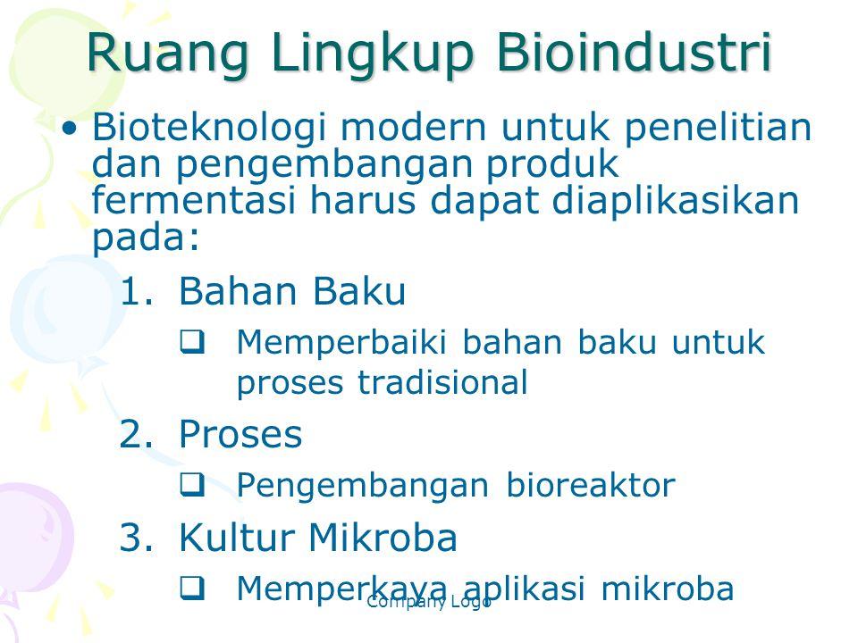 Company Logo Ruang Lingkup Bioindustri Bioteknologi modern untuk penelitian dan pengembangan produk fermentasi harus dapat diaplikasikan pada: 1.Bahan
