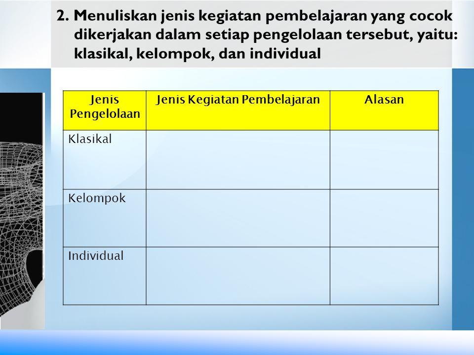 2. Menuliskan jenis kegiatan pembelajaran yang cocok dikerjakan dalam setiap pengelolaan tersebut, yaitu: klasikal, kelompok, dan individual Jenis Pen