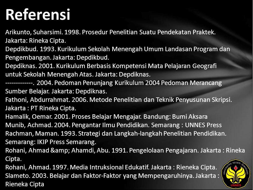 Referensi Arikunto, Suharsimi. 1998. Prosedur Penelitian Suatu Pendekatan Praktek. Jakarta: Rineka Cipta. Depdikbud. 1993. Kurikulum Sekolah Menengah