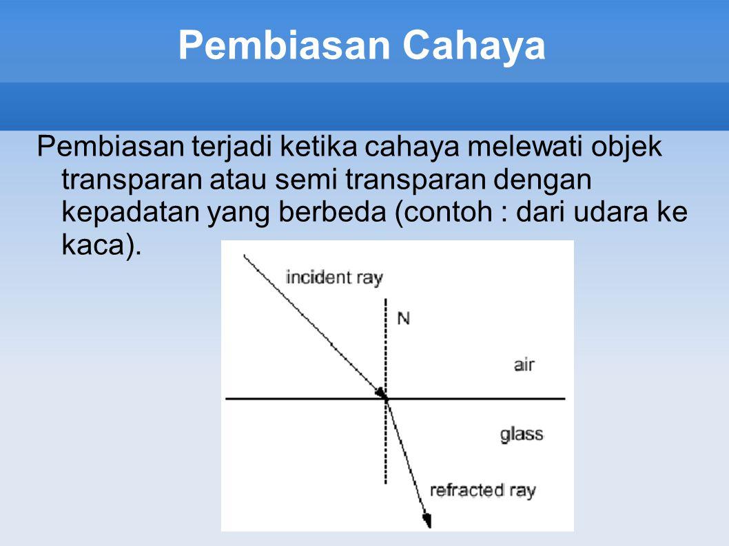Pembiasan Cahaya Pembiasan terjadi ketika cahaya melewati objek transparan atau semi transparan dengan kepadatan yang berbeda (contoh : dari udara ke