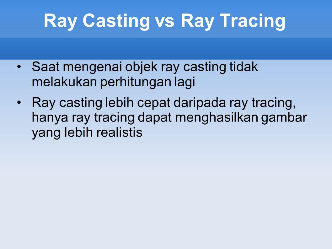 Ray Casting vs Ray Tracing Saat mengenai objek ray casting tidak melakukan perhitungan lagi Ray casting lebih cepat daripada ray tracing, hanya ray tr