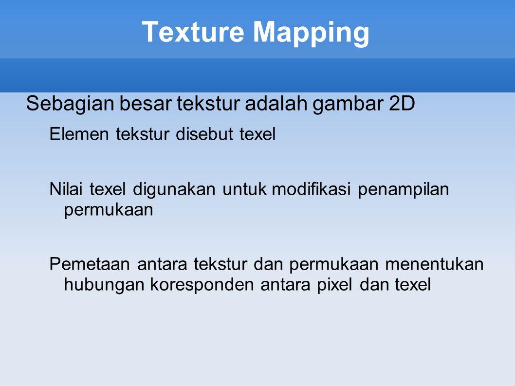 Texture Mapping Sebagian besar tekstur adalah gambar 2D Elemen tekstur disebut texel Nilai texel digunakan untuk modifikasi penampilan permukaan Pemet