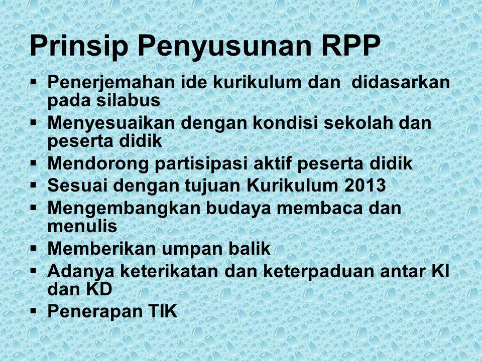 Prinsip Penyusunan RPP  Penerjemahan ide kurikulum dan didasarkan pada silabus  Menyesuaikan dengan kondisi sekolah dan peserta didik  Mendorong pa