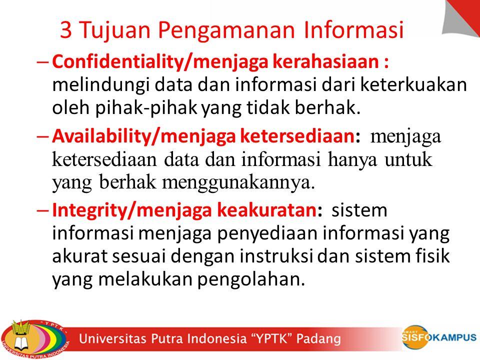 3 Tujuan Pengamanan Informasi – Confidentiality/menjaga kerahasiaan : melindungi data dan informasi dari keterkuakan oleh pihak-pihak yang tidak berha