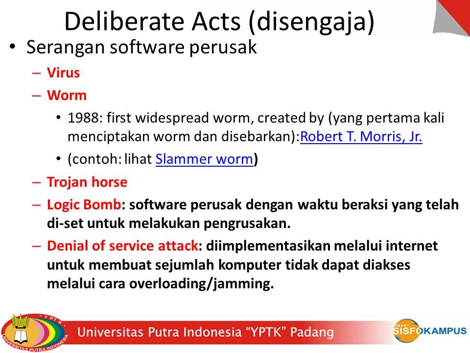Deliberate Acts (disengaja) Serangan software perusak – Virus – Worm 1988: first widespread worm, created by (yang pertama kali menciptakan worm dan d