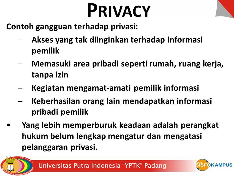 P RIVACY Contoh gangguan terhadap privasi: –Akses yang tak diinginkan terhadap informasi pemilik –Memasuki area pribadi seperti rumah, ruang kerja, ta