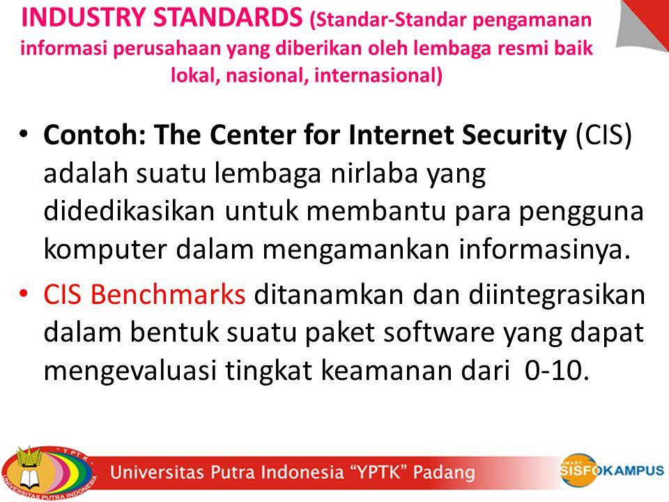 INDUSTRY STANDARDS (Standar-Standar pengamanan informasi perusahaan yang diberikan oleh lembaga resmi baik lokal, nasional, internasional) Contoh: The