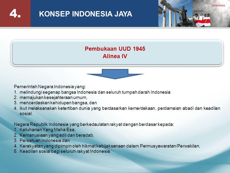 Pemerintah Negara Indonesia yang: 1.melindungi segenap bangsa Indonesia dan seluruh tumpah darah Indonesia 2.memajukan kesejahteraan umum, 3.mencerdaskan kehidupan bangsa, dan 4.ikut melaksanakan ketertiban dunia yang berdasarkan kemerdekaan, perdamaian abadi dan keadilan sosial.