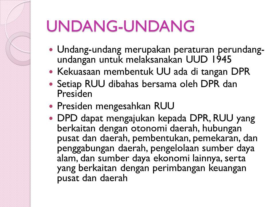 UNDANG-UNDANG Undang-undang merupakan peraturan perundang- undangan untuk melaksanakan UUD 1945 Kekuasaan membentuk UU ada di tangan DPR Setiap RUU di