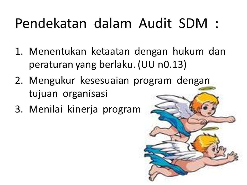 Pendekatan dalam Audit SDM : 1.Menentukan ketaatan dengan hukum dan peraturan yang berlaku. (UU n0.13) 2.Mengukur kesesuaian program dengan tujuan org
