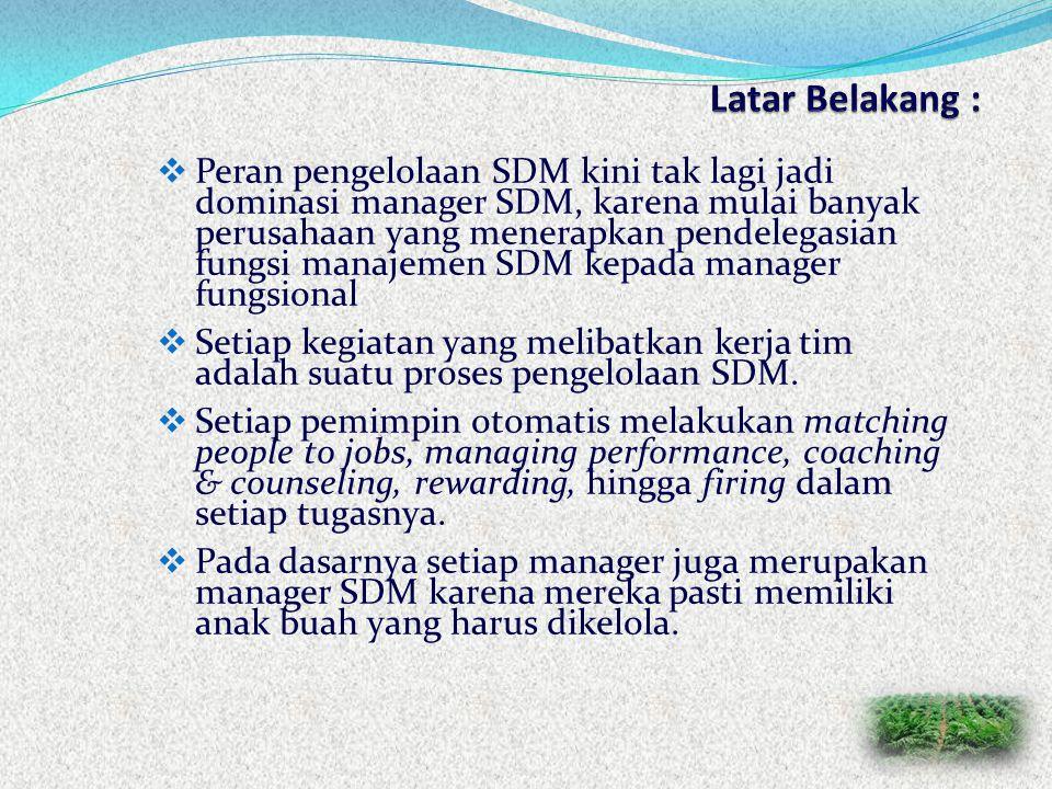  Peran pengelolaan SDM kini tak lagi jadi dominasi manager SDM, karena mulai banyak perusahaan yang menerapkan pendelegasian fungsi manajemen SDM kepada manager fungsional  Setiap kegiatan yang melibatkan kerja tim adalah suatu proses pengelolaan SDM.