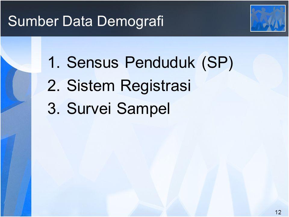 12 Sumber Data Demografi 1.Sensus Penduduk (SP) 2.Sistem Registrasi 3.Survei Sampel