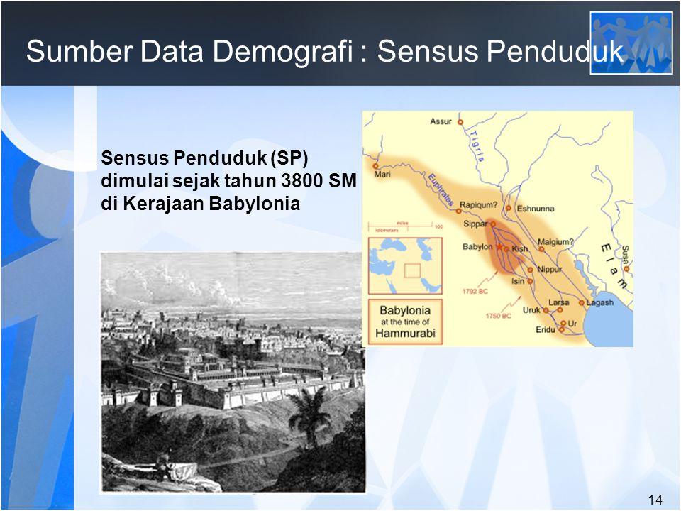 14 Sumber Data Demografi : Sensus Penduduk Sensus Penduduk (SP) dimulai sejak tahun 3800 SM di Kerajaan Babylonia