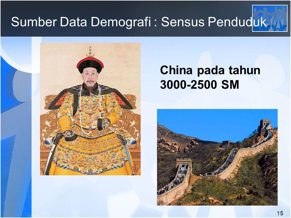 15 Sumber Data Demografi : Sensus Penduduk China pada tahun 3000-2500 SM