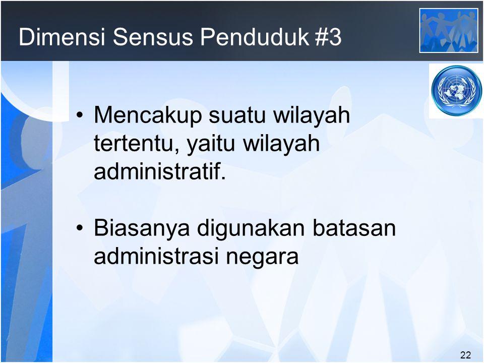 22 Dimensi Sensus Penduduk #3 Mencakup suatu wilayah tertentu, yaitu wilayah administratif.