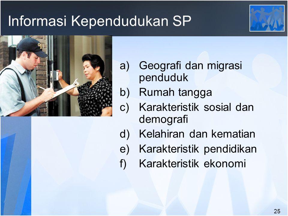 25 Informasi Kependudukan SP a)Geografi dan migrasi penduduk b)Rumah tangga c)Karakteristik sosial dan demografi d)Kelahiran dan kematian e)Karakteristik pendidikan f)Karakteristik ekonomi
