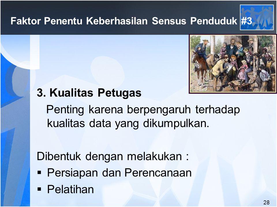 28 Faktor Penentu Keberhasilan Sensus Penduduk #3 3.