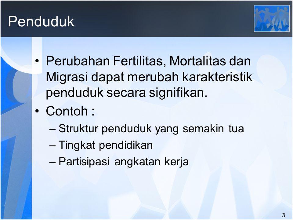 3 Penduduk Perubahan Fertilitas, Mortalitas dan Migrasi dapat merubah karakteristik penduduk secara signifikan.