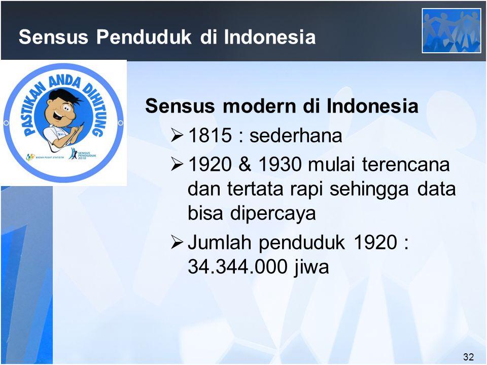 32 Sensus Penduduk di Indonesia Sensus modern di Indonesia  1815 : sederhana  1920 & 1930 mulai terencana dan tertata rapi sehingga data bisa dipercaya  Jumlah penduduk 1920 : 34.344.000 jiwa
