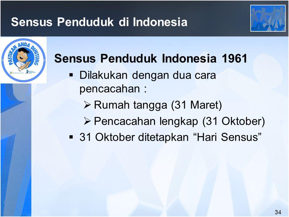 34 Sensus Penduduk di Indonesia Sensus Penduduk Indonesia 1961  Dilakukan dengan dua cara pencacahan :  Rumah tangga (31 Maret)  Pencacahan lengkap (31 Oktober)  31 Oktober ditetapkan Hari Sensus