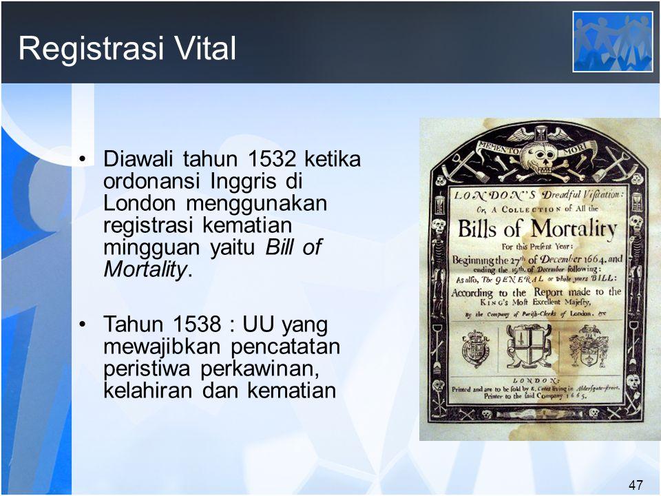 47 Registrasi Vital Diawali tahun 1532 ketika ordonansi Inggris di London menggunakan registrasi kematian mingguan yaitu Bill of Mortality.