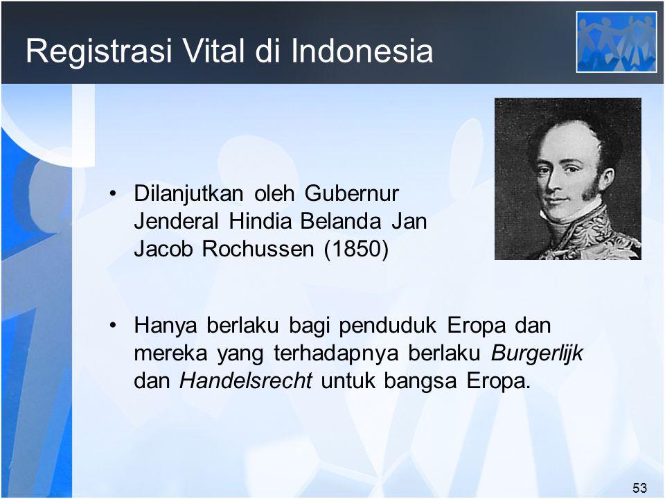 53 Registrasi Vital di Indonesia Dilanjutkan oleh Gubernur Jenderal Hindia Belanda Jan Jacob Rochussen (1850) Hanya berlaku bagi penduduk Eropa dan mereka yang terhadapnya berlaku Burgerlijk dan Handelsrecht untuk bangsa Eropa.