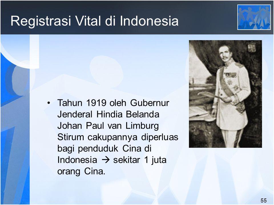 55 Registrasi Vital di Indonesia Tahun 1919 oleh Gubernur Jenderal Hindia Belanda Johan Paul van Limburg Stirum cakupannya diperluas bagi penduduk Cina di Indonesia  sekitar 1 juta orang Cina.