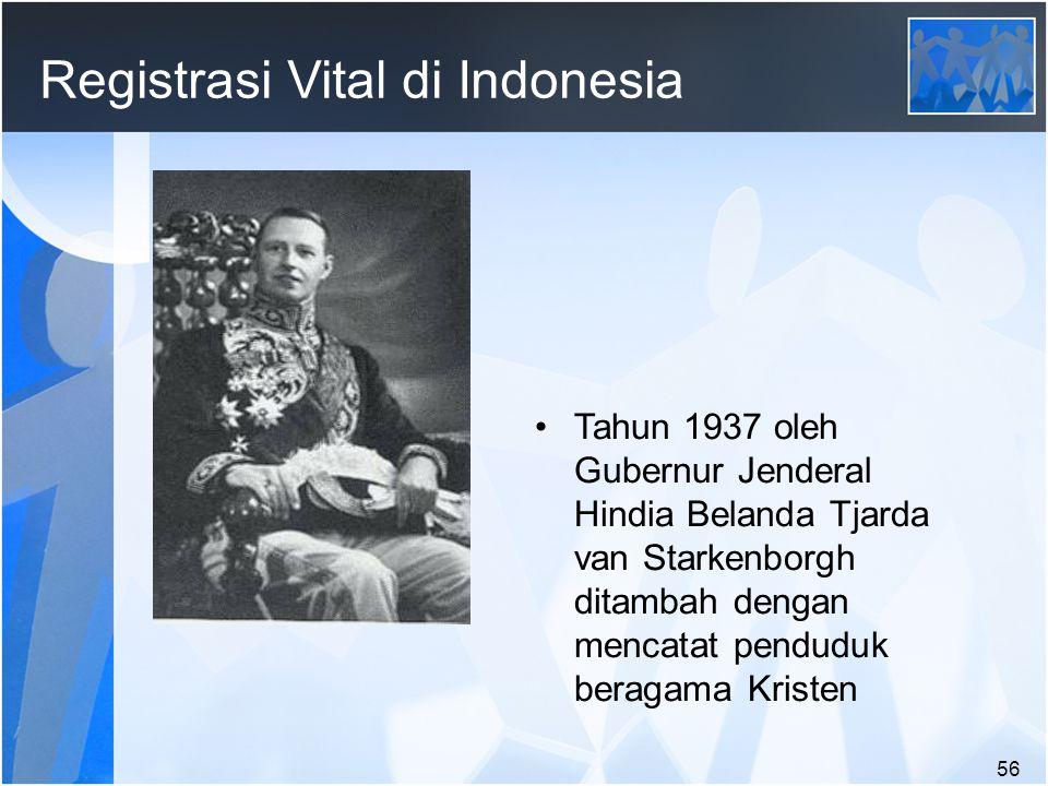 56 Registrasi Vital di Indonesia Tahun 1937 oleh Gubernur Jenderal Hindia Belanda Tjarda van Starkenborgh ditambah dengan mencatat penduduk beragama Kristen