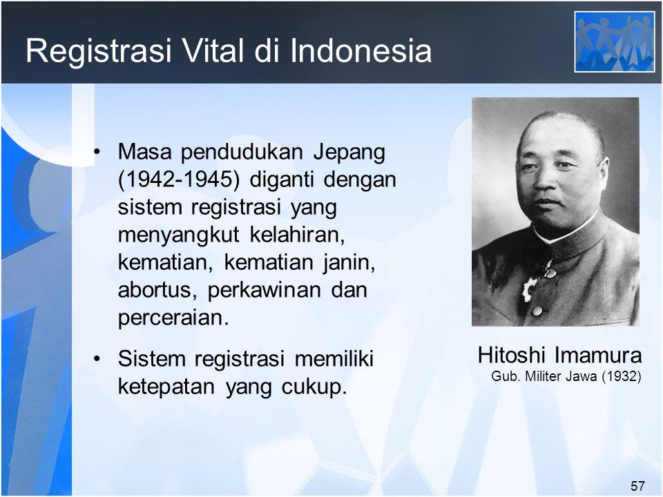 57 Registrasi Vital di Indonesia Masa pendudukan Jepang (1942-1945) diganti dengan sistem registrasi yang menyangkut kelahiran, kematian, kematian janin, abortus, perkawinan dan perceraian.
