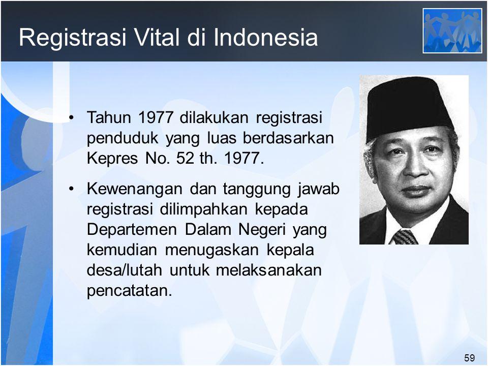 59 Registrasi Vital di Indonesia Tahun 1977 dilakukan registrasi penduduk yang luas berdasarkan Kepres No.