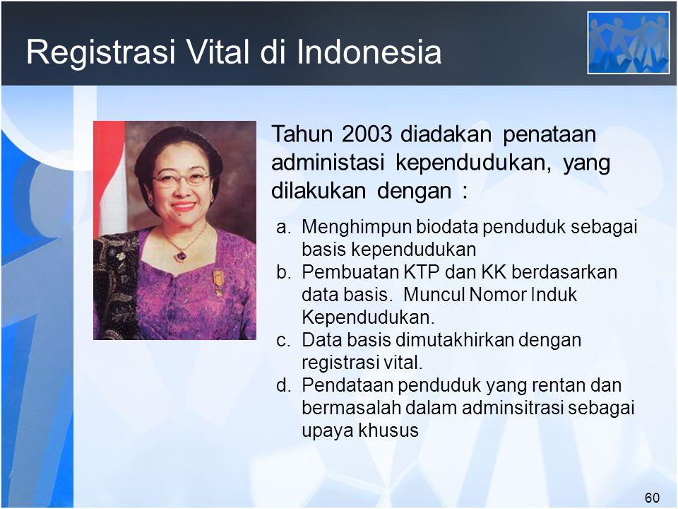 60 Registrasi Vital di Indonesia Tahun 2003 diadakan penataan administasi kependudukan, yang dilakukan dengan : a.Menghimpun biodata penduduk sebagai basis kependudukan b.Pembuatan KTP dan KK berdasarkan data basis.