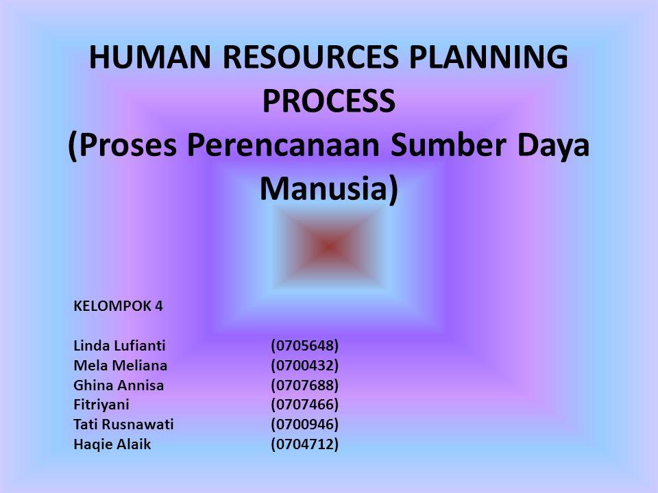 HUMAN RESOURCES PLANNING PROCESS (Proses Perencanaan Sumber Daya Manusia) KELOMPOK 4 Linda Lufianti(0705648) Mela Meliana(0700432) Ghina Annisa(070768