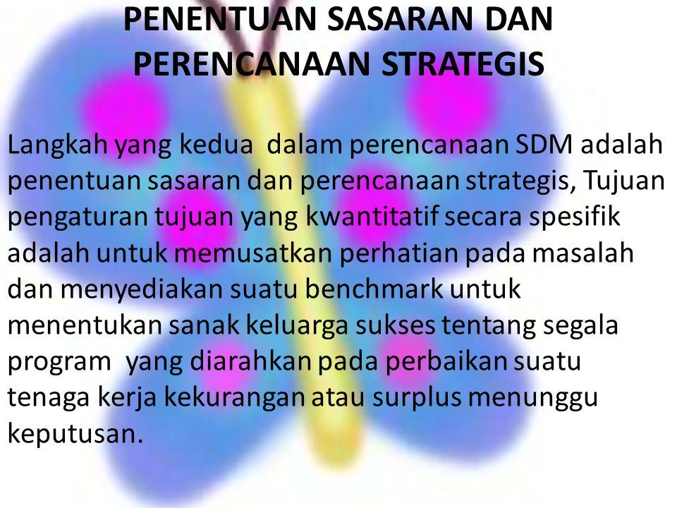 PENENTUAN SASARAN DAN PERENCANAAN STRATEGIS Langkah yang kedua dalam perencanaan SDM adalah penentuan sasaran dan perencanaan strategis, Tujuan pengat