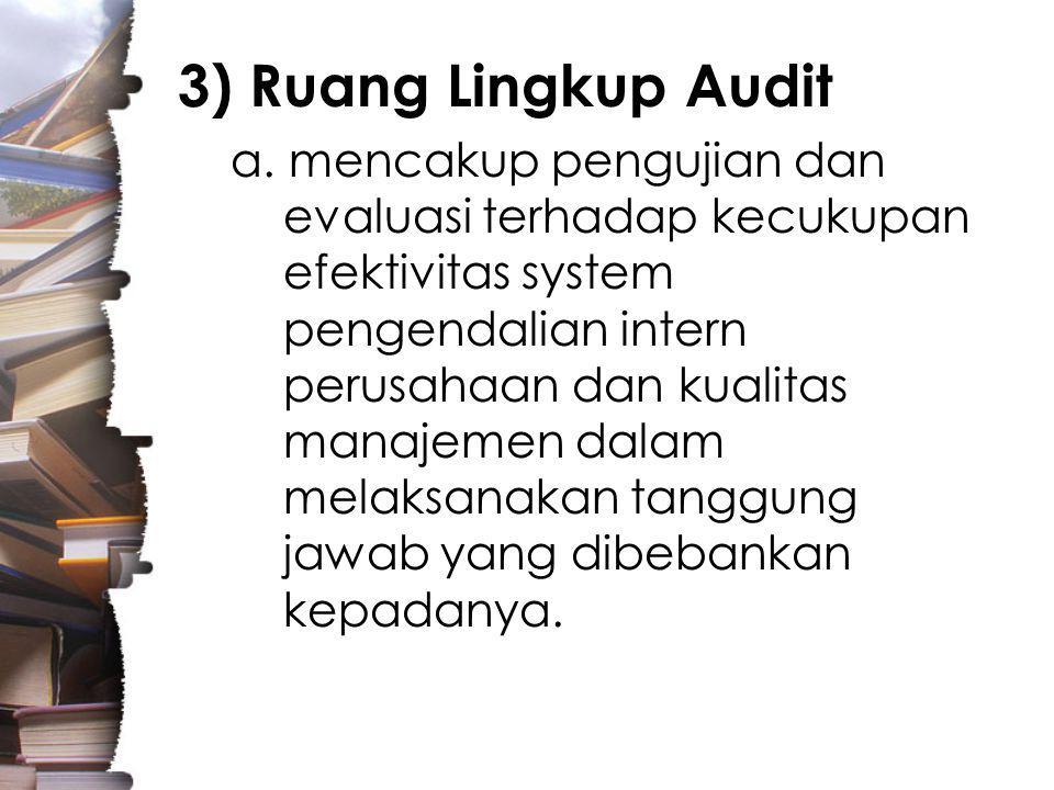 3) Ruang Lingkup Audit a.