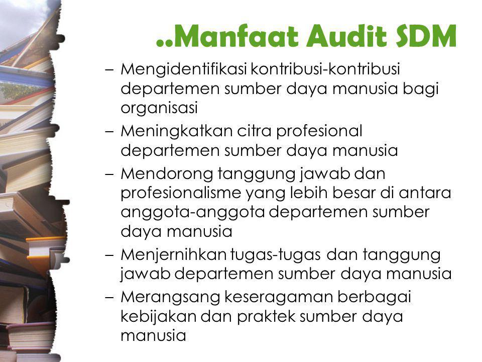 ..Tujuan Audit SDM untuk membantu MSDM memberikan kontribusi yang signifikan terhadap tujuan-tujuan organisasi untuk menciptakan nilai (value) sehingga organisasi bertanggung jawab secara sosial, etikal, dan kompetitif untuk mendapatkan umpan balik (feedback) dari para karyawan dan manajer operasi dalam hal yang berkaitan dengan efektivitas MSDM untuk memperbaiki fungsi MSDM dengan menyediakan sarana untuk membuat keputusan ketika akan mengurangi dan menambah kegiatan- kegiatan SDM menilai efektifitas SDM mengenali aspek-aspek yang masih dapat di perbaiki mempelajari aspek-aspek tersebut secara mendalam