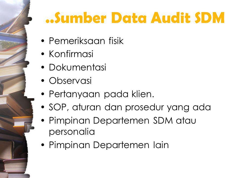 ..Sumber Data Audit SDM Pemeriksaan fisik Konfirmasi Dokumentasi Observasi Pertanyaan pada klien.