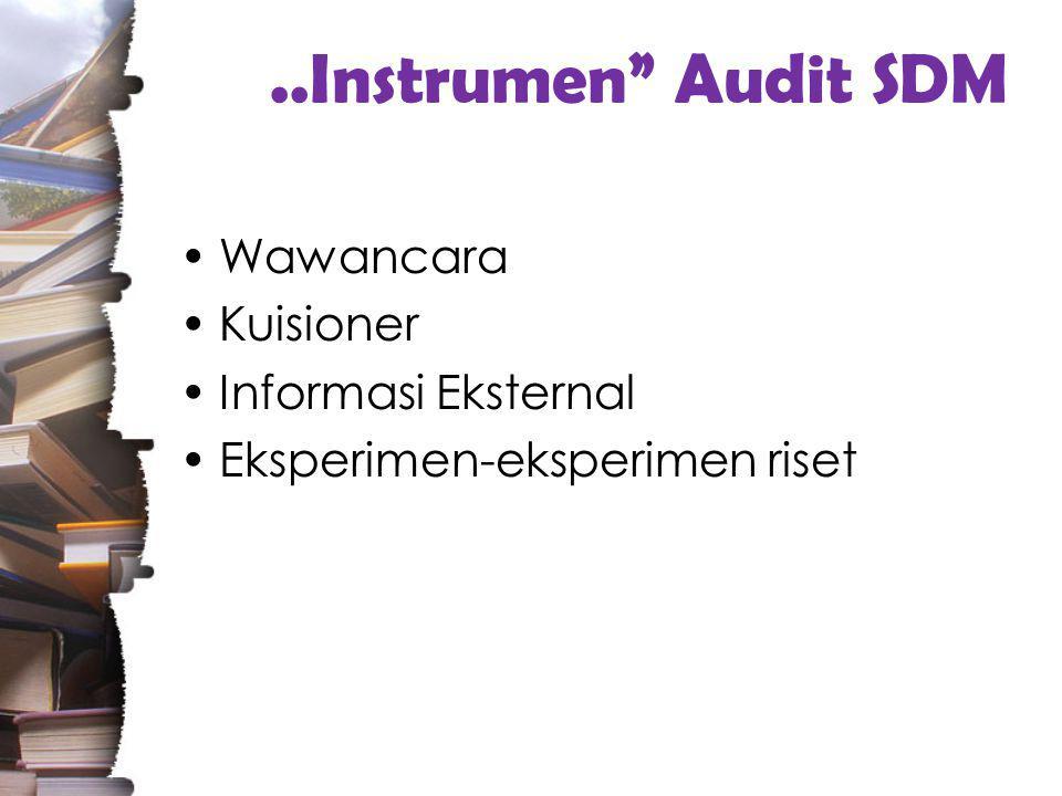 ..Instrumen Audit SDM Wawancara Kuisioner Informasi Eksternal Eksperimen-eksperimen riset