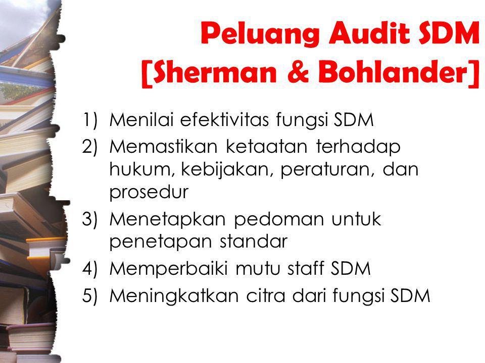 Peluang Audit SDM [Sherman & Bohlander] 1)Menilai efektivitas fungsi SDM 2)Memastikan ketaatan terhadap hukum, kebijakan, peraturan, dan prosedur 3)Menetapkan pedoman untuk penetapan standar 4)Memperbaiki mutu staff SDM 5)Meningkatkan citra dari fungsi SDM