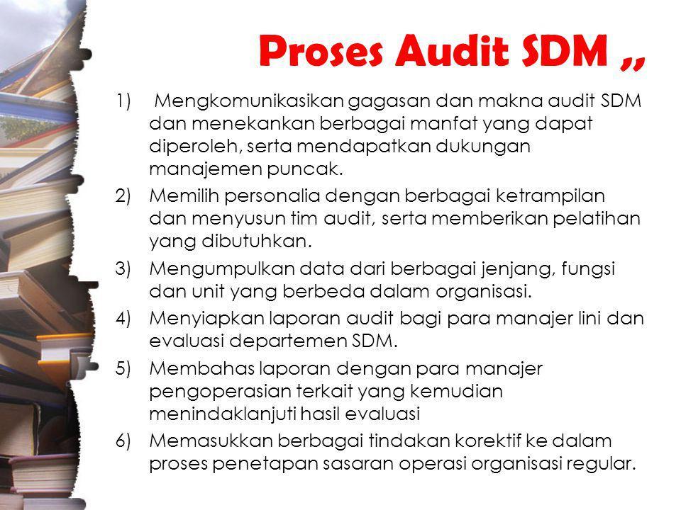 Proses Audit SDM,, 1) Mengkomunikasikan gagasan dan makna audit SDM dan menekankan berbagai manfat yang dapat diperoleh, serta mendapatkan dukungan manajemen puncak.