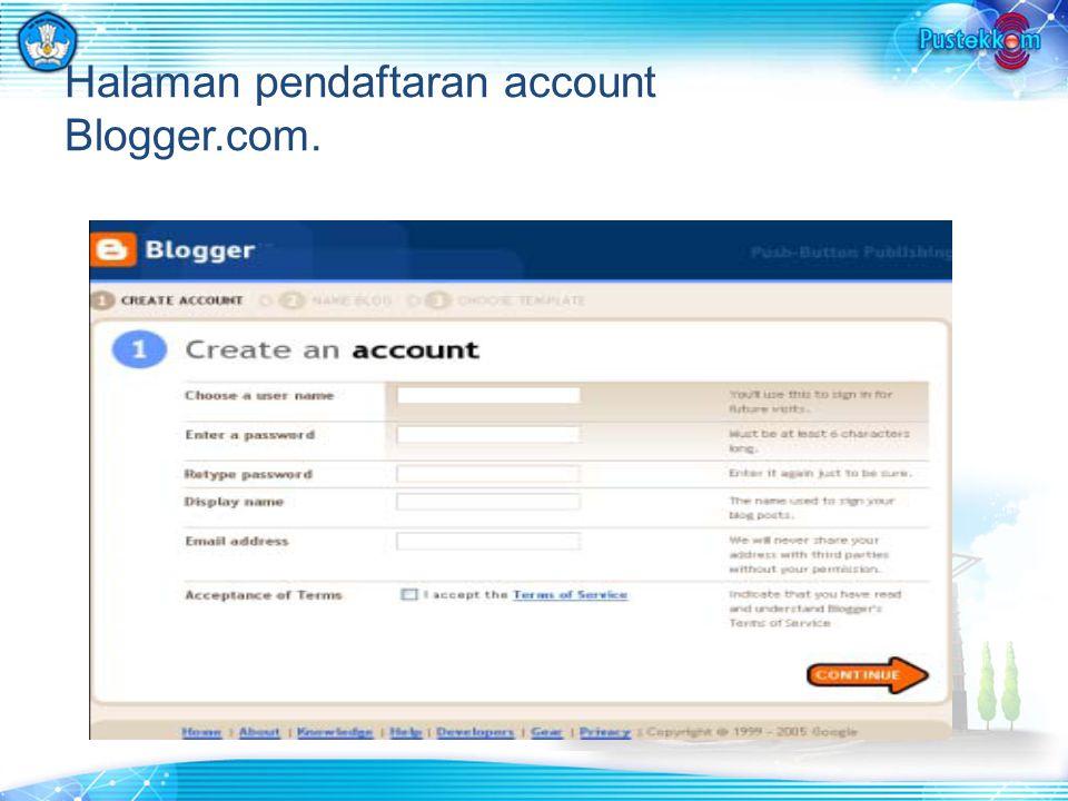 Halaman pendaftaran account Blogger.com.