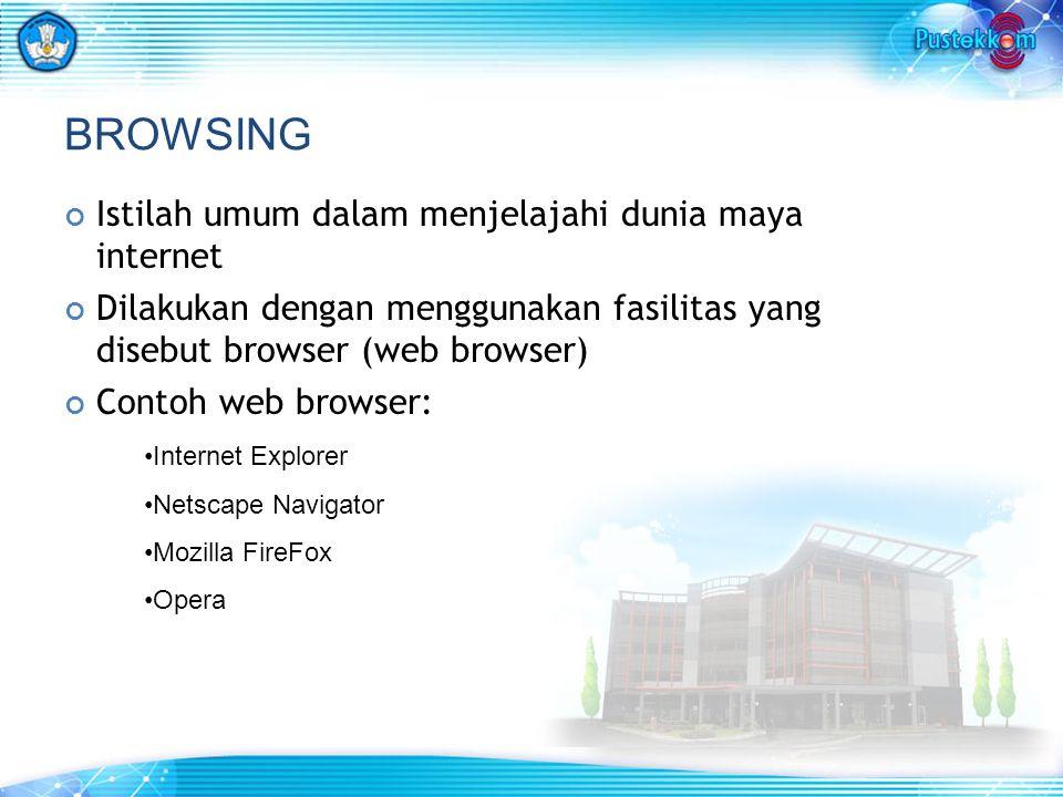 BROWSING Istilah umum dalam menjelajahi dunia maya internet Dilakukan dengan menggunakan fasilitas yang disebut browser (web browser) Contoh web browser: Internet Explorer Netscape Navigator Mozilla FireFox Opera