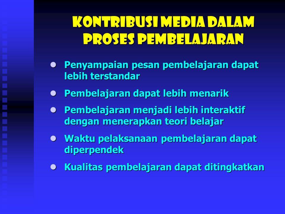 Media sebagai sumber belajar diakui sebagai alat bantu auditif, visual dan audio visual.
