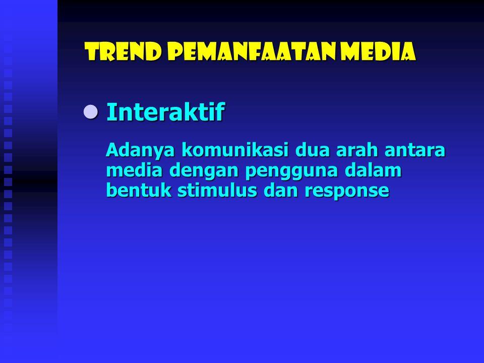 Konfergensi Konfergensi Trend Pemanfaatan media Penggabungan berbagai tipe media – teks, foto, grafik, suara, video, dan animasi – kedalam satu buah media tertentu.