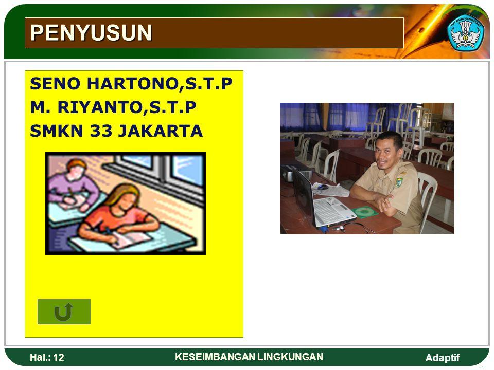 Adaptif Hal.: 12 KESEIMBANGAN LINGKUNGAN PENYUSUN SENO HARTONO,S.T.P M. RIYANTO,S.T.P SMKN 33 JAKARTA