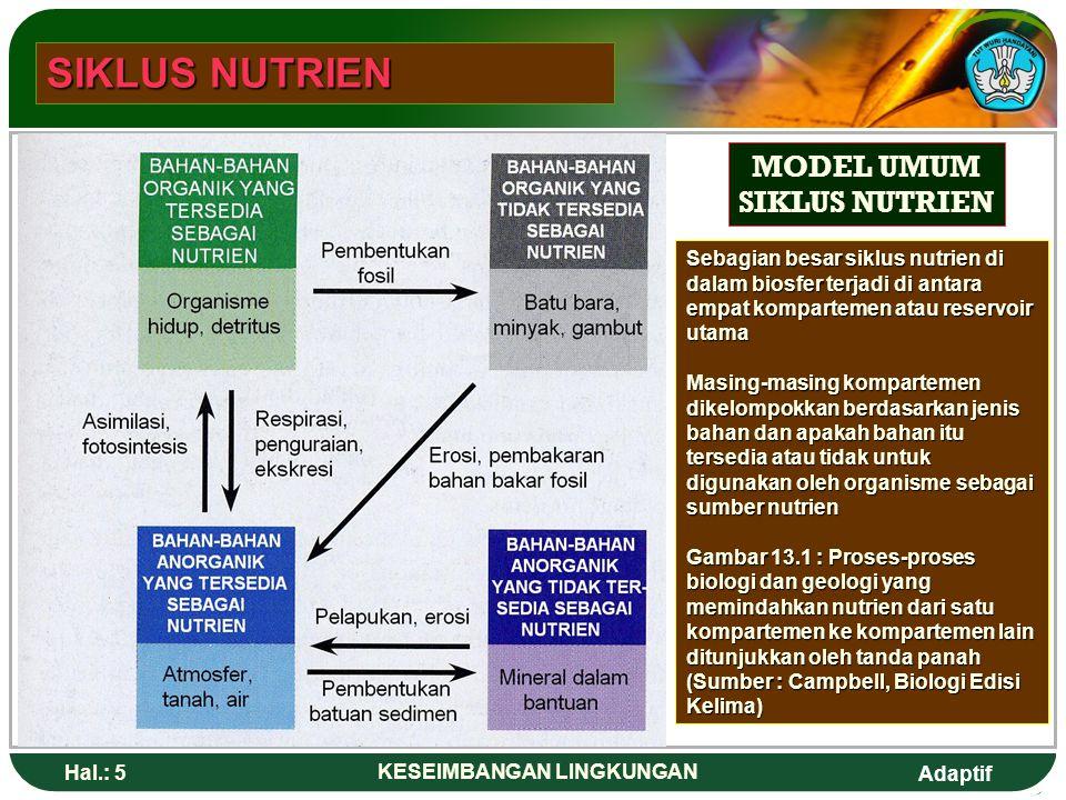 Adaptif Hal.: 5 KESEIMBANGAN LINGKUNGAN MODEL UMUM SIKLUS NUTRIEN Sebagian besar siklus nutrien di dalam biosfer terjadi di antara empat kompartemen atau reservoir utama Masing-masing kompartemen dikelompokkan berdasarkan jenis bahan dan apakah bahan itu tersedia atau tidak untuk digunakan oleh organisme sebagai sumber nutrien Gambar 13.1 : Proses-proses biologi dan geologi yang memindahkan nutrien dari satu kompartemen ke kompartemen lain ditunjukkan oleh tanda panah (Sumber : Campbell, Biologi Edisi Kelima) SIKLUS NUTRIEN