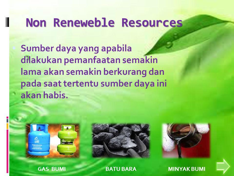 Non Reneweble Resources  Sumber daya yang apabila dilakukan pemanfaatan semakin lama akan semakin berkurang dan pada saat tertentu sumber daya ini akan habis.
