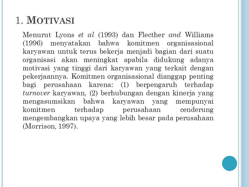 1. M OTIVASI Menurut Lyons et al (1993) dan Flecther and Williams (1996) menyatakan bahwa komitmen organisasional karyawan untuk terus bekerja menjadi