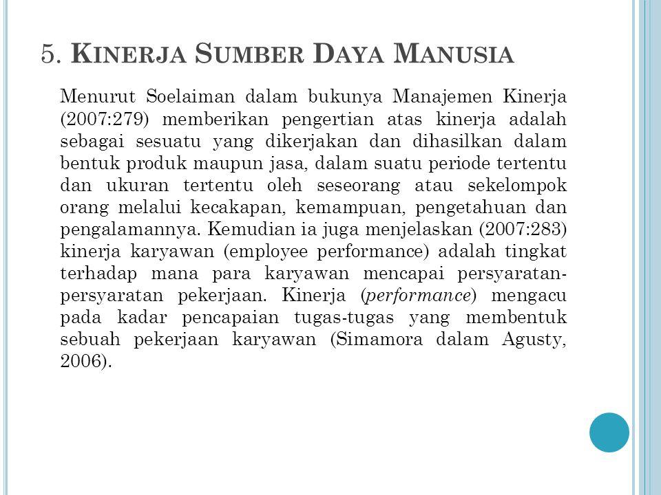 5. K INERJA S UMBER D AYA M ANUSIA Menurut Soelaiman dalam bukunya Manajemen Kinerja (2007:279) memberikan pengertian atas kinerja adalah sebagai sesu