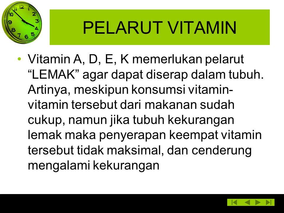 """PELARUT VITAMIN Vitamin A, D, E, K memerlukan pelarut """"LEMAK"""" agar dapat diserap dalam tubuh. Artinya, meskipun konsumsi vitamin- vitamin tersebut dar"""