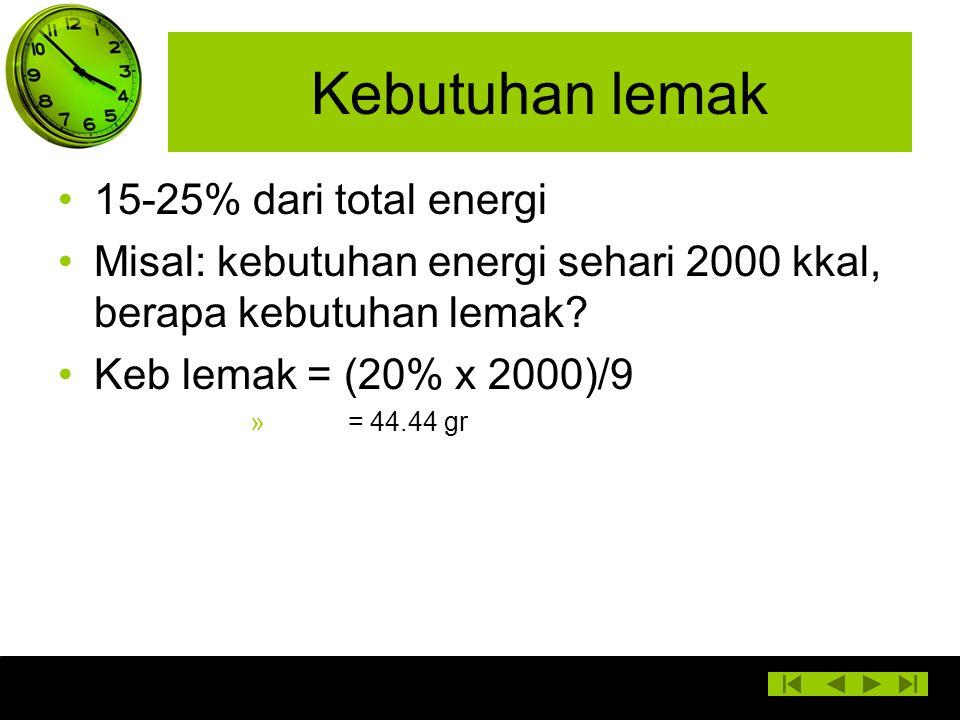 Kebutuhan lemak 15-25% dari total energi Misal: kebutuhan energi sehari 2000 kkal, berapa kebutuhan lemak? Keb lemak = (20% x 2000)/9 » = 44.44 gr